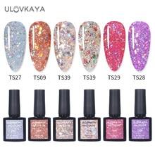 ULOVKAYA 7.3ml Glitter Sequins UV Led Nail Gel Polish Semi-Permanent Soak Off Nail Art Gel Varnish All For Manicure Shiny GelLak