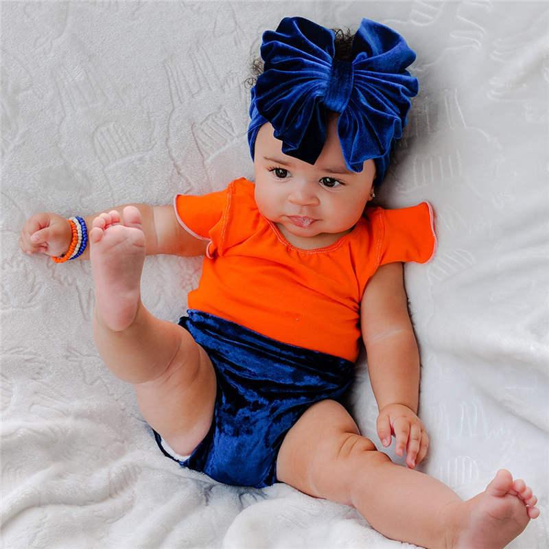 Baby Girls Hair Bowknot Velvet Headbands Solid Color for Infant Toddlers Newborn