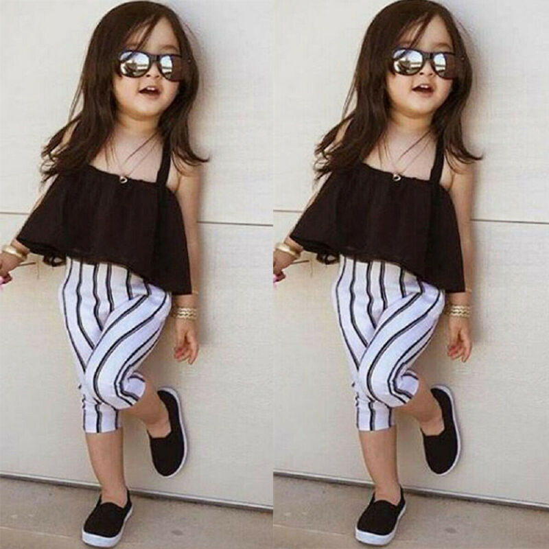 Toddler Kids Baby Girls Clothes Off Shoulder Top T-Shirt Stripe Pants Outfits
