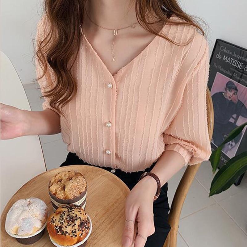Tasseled Chiffon Blouse Women Shirt 2019 Autumn Half Sleeve Solid V-neck Summer Shirts And Blouses Blusas Elegantes De Mujer