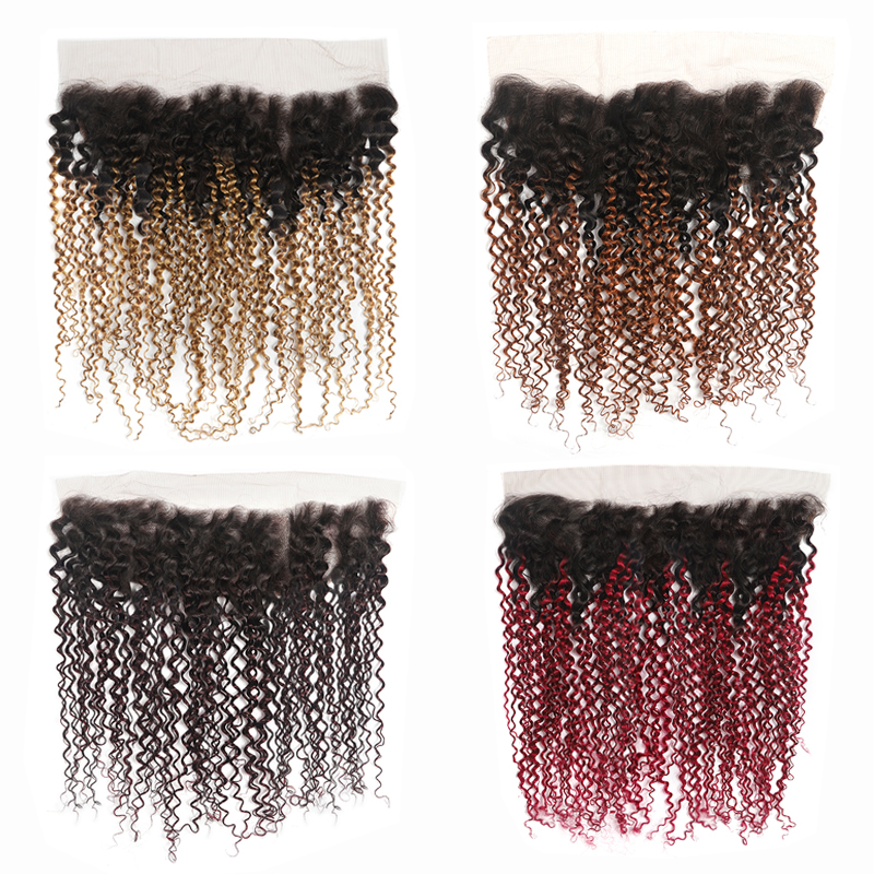 T1B/27# Ombre Blonde Lace Frontal Closure 13x4 Free/Middle Part Brazilian Kinky Curly Human Hair Lace Closure Non-Remy KEMY HAIR