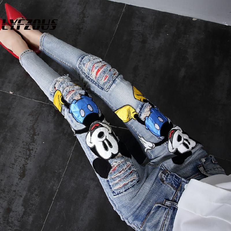 Women Casual Mickey Patch Ripped Jeans Trousers Students High Waist Denim Pencil Pants Plus Size Jeans 2020 Spring Europ Style