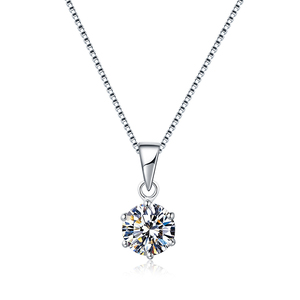 Image 4 - BOEYCJR 925 Silver 0.5ct/1ct/2ct F color Moissanite VVS Engagement Elegant Wedding Pendant Necklace for Women Anniversary Gift