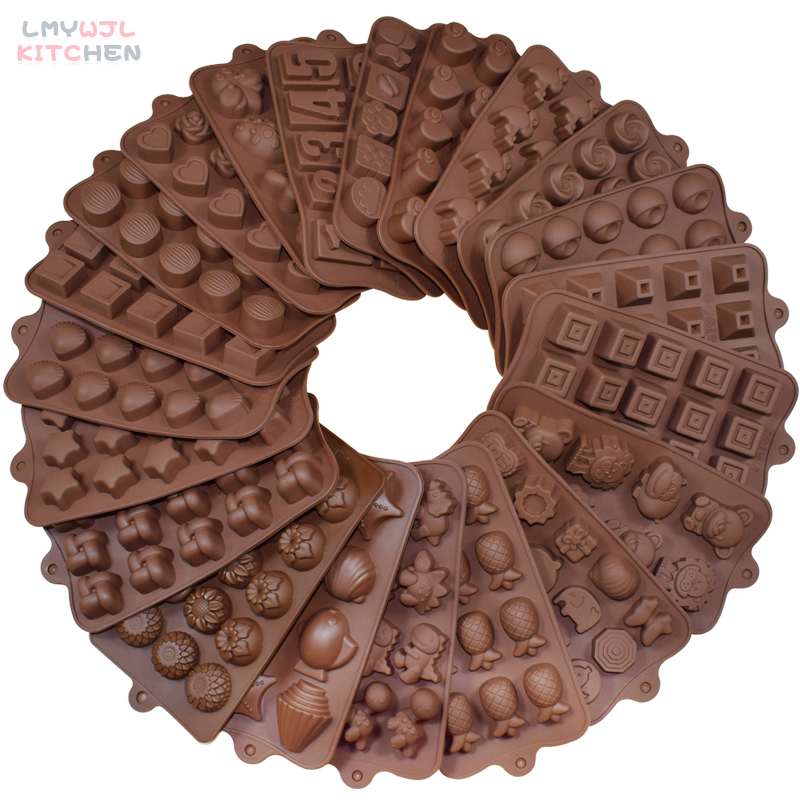 Food-Grade Silicone Chocolate Mold 21 Shapes 3D Candy/Jelly Mold Baking Cake Decoration Accessories Non-Stick Silicone Cake Mold
