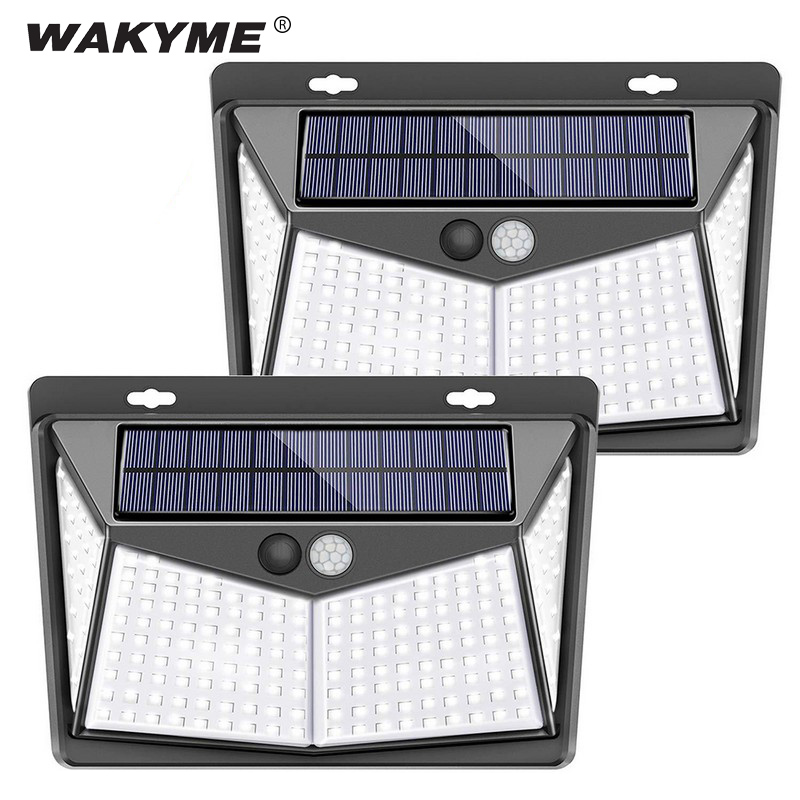 WAKYME 3 Modes Solar Lamp 208 LED Outdoors Wall Light PIR Motion Sensor Garden Light Waterproof Security Solar Powered Sunlight