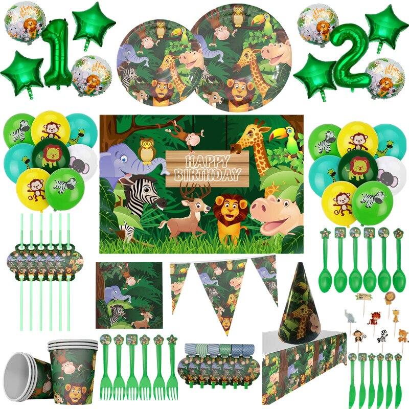 Зеленые фольгированные воздушные шары OEIN в виде цифр, декор для сафари, джунглей вечерние, украшения для 1-го дня рождения, вечеривечерние, д...