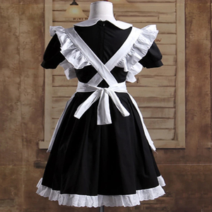 Image 2 - הוט קוטור גותי לוליטה מותניים סינר שמלת עוזרת חליפות כותנה יפני קוספליי תחפושות לבן טלאי רול שרוולים קצר