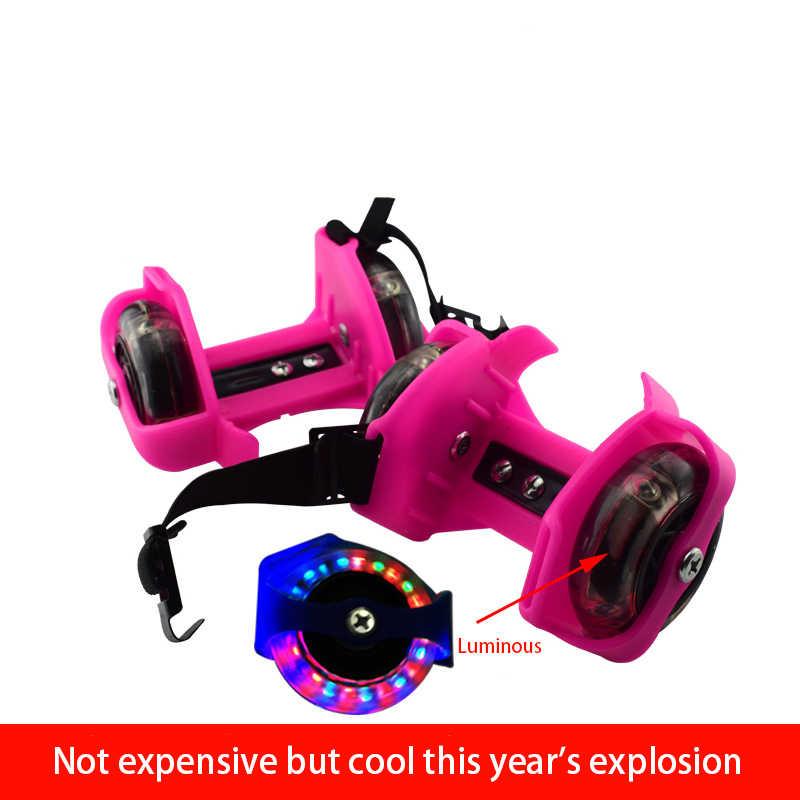 Детские четыре красочные мигающие роликовые безопасные ролики на пятку светящиеся колеса каблук Регулируемый просто прочный обувь для катания на коньках подарок для детей