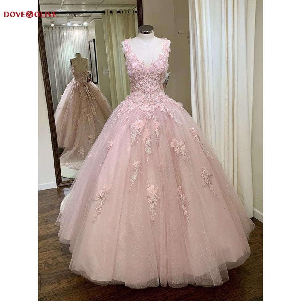 Pink Quinceanera Dresses Ball Gown 2020 Lace Appliques Floral Keyhole Backless Sweet 16 Girl vestido de 15 anos robe de