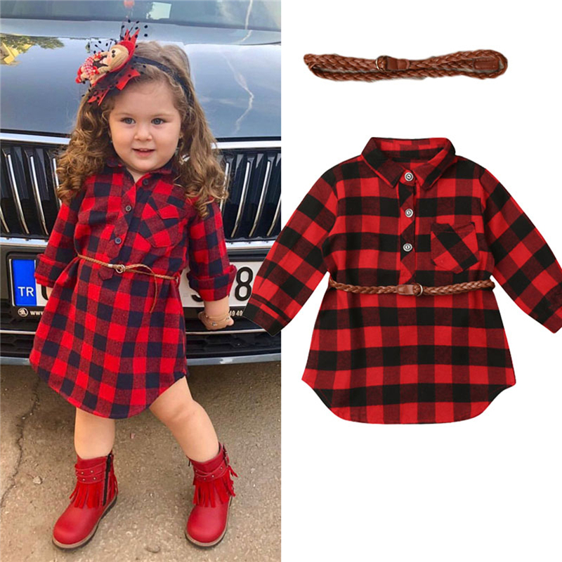 0-5Y Toddler Clothing Kids Baby Girl Dress Red Plaid Loose Casual Princess Party Long Sleeve Dresses With Sashes
