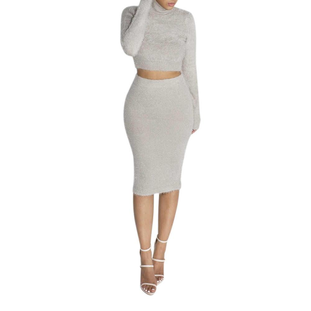 ファッション女性固体色のセーターのスーツセット 2 個女性ニット長袖高襟プルオーバー + ボディコンペンシルスカート 2019 新