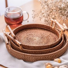 Round Fruit Storage Tray Handmade Woven Plate for Breads Snack Dinner Serving Tray Desktop Sundries Organizer Nordic Decor