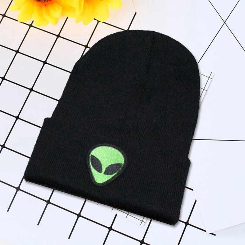 لطيف محبوك الأخضر الغريبة قبعة بونيه الغريبة قبعة قبعة للنساء قبعة مطرزة التطريز المطرزة قبعة التطريز الرجال