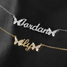 Custom Name Necklace Pendant Double-Butterfly Jewelry Chain Gift Stainless-Steel Iced-Out