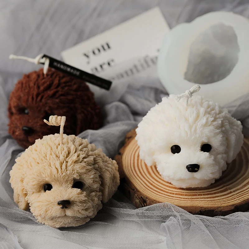 Teddy Dog Head Silicone Candle Mold DIY Aromatherapy Form Plaster Molds Handmade Candle Plaster Making Resin Crafts