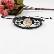 Hot sale World map crystal glass bracelet fashion woven leather jewelry