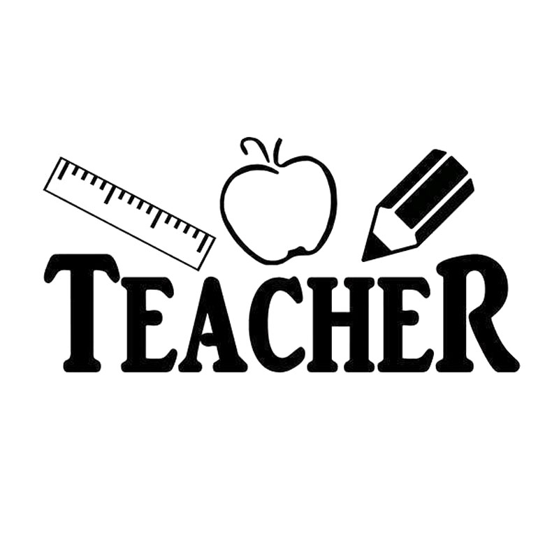 20X10CM TEACHER Ruler Apple <font><b>Pencil</b></font> Originality Vinyl Decal Car-styling Black/White Car Sticker Window Door Wall Decals Decor image