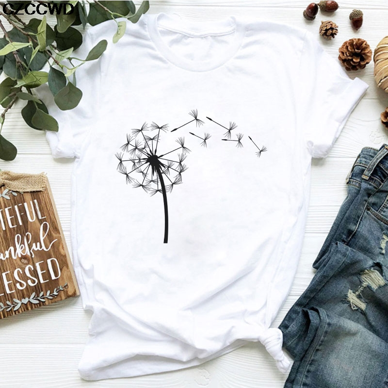 Hot Sale Summer Down Wildflower Dandelion Print Vogue Women T-shirt Simple Casual Fun T Shirt Gift For Lady Yong Girl Tops Tees