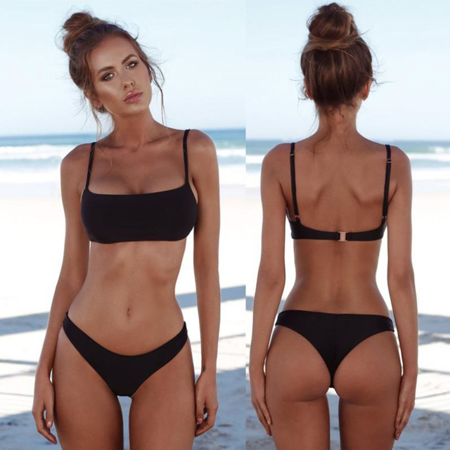 New Solid Sexy Bikini Two-Piece Swimwear Women Swimming Suit Fashion Plus Size XL Sets Swimsuit Bathing Suit Female Biquini 1