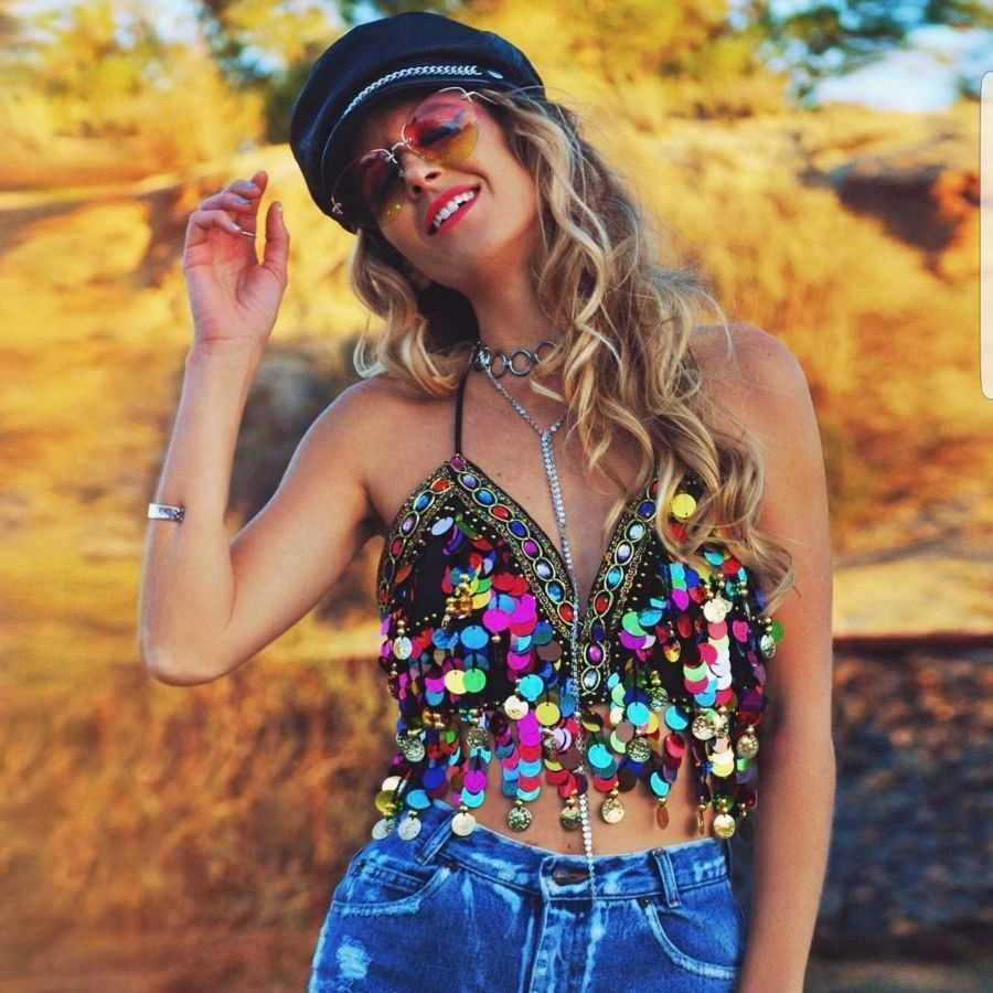 Rainbow Sequin Tassel Mermaid Mirror Festival Body Harness Bra Bralette Crop Top Beading Coins Lace-Up Chiffon Boho Cami Top