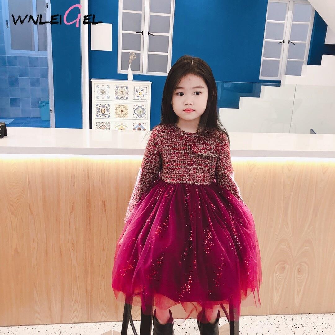 WLG filles hiver princesse robes enfants velours épais patchwork anniversaire mignon robe bébé fille chaud fête vêtements 2-10 ans