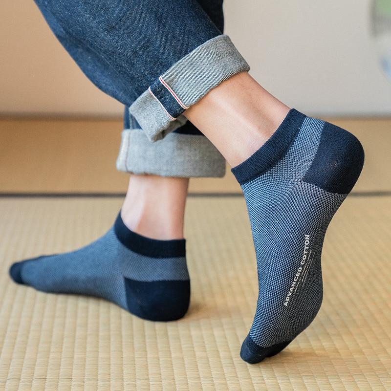 Mesh Cotton Men Low Cut Socks High Quality Solid Japanese Harajuku Short Ankle Socks Durable Black Male Casual Boat Socks