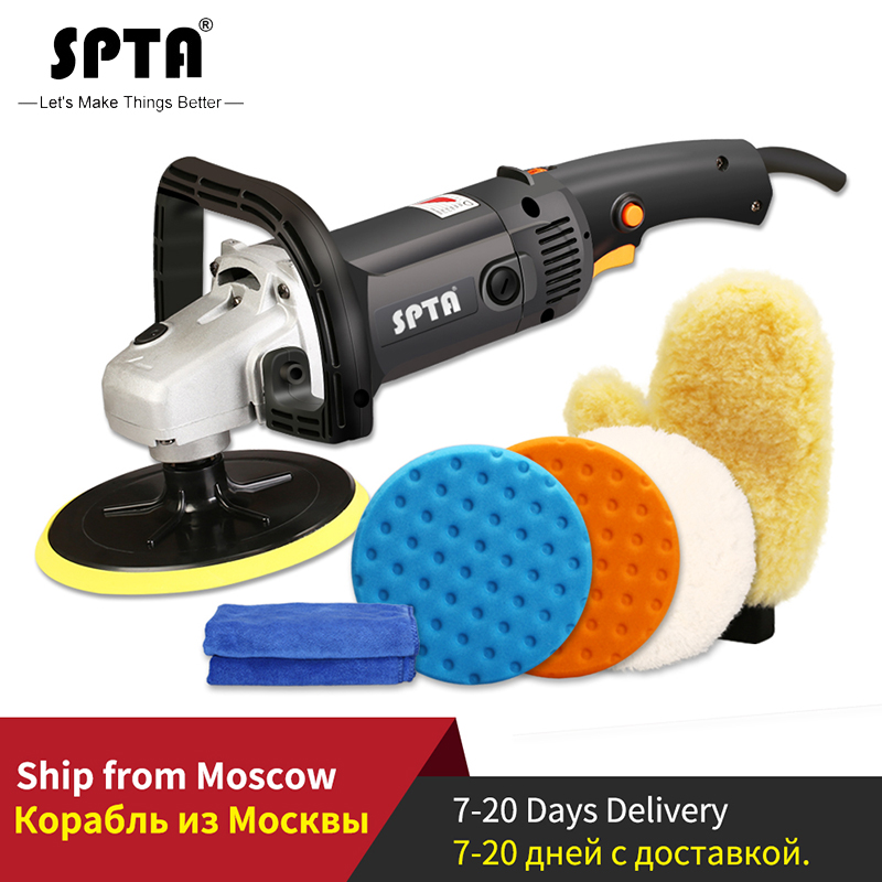 SPTA 7inch Rotary Polisher 220V 1200W Variable Speed Electric Polisher M14 Thread Polishing Machine & Accessories For Automotive