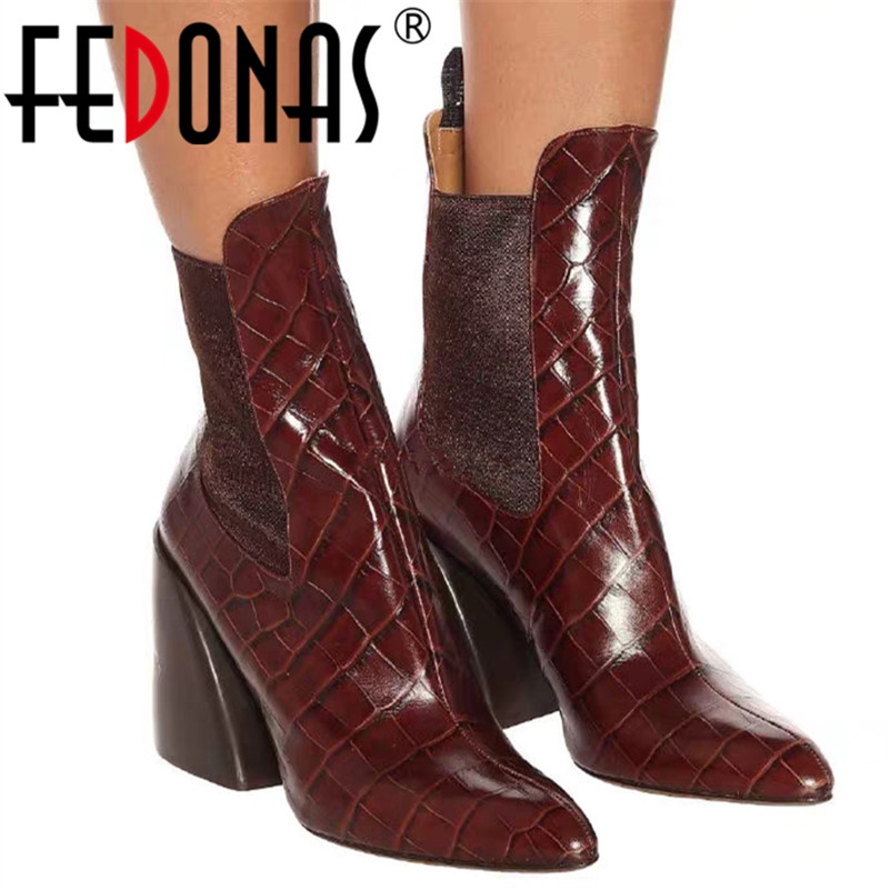 FEDONAS Brand 2020 Winter Warm Short Boots Classic Genuine Leather Party Shoes Woman Big Size Chunky Heels New Women Ankle Boots