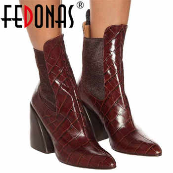 FEDONAS Brand 2020 Winter Warm Short Boots Classic Genuine Leather Party Shoes Woman Big Size Chunky Heels New Women Ankle Boots - DISCOUNT ITEM  48% OFF All Category