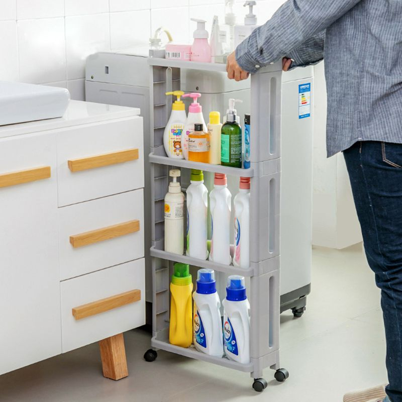 Bathroom Organizer Gap Shelves For  Kitchen Shelf Storage Rack  Supplies Multilayer Plastic Racks With Wheels