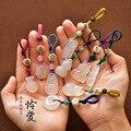 Auto Schlüssel Anhänger Weiß Jade Lotus Keychain Top Grade Handgemachte Klassische Kreative Schlüssel Kette Geschenk Tasche Hängen Dekoration-in Schlüsseletui für Auto aus Kraftfahrzeuge und Motorräder bei