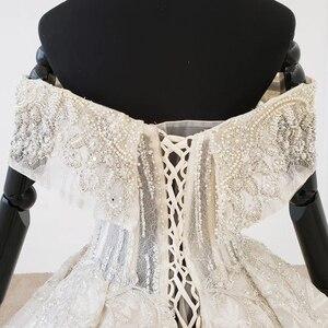 Image 4 - HTL1106 pleat ball gown wedding dress luxury boat neck floor length wedding gown plus size curve shape robe mariage en perle