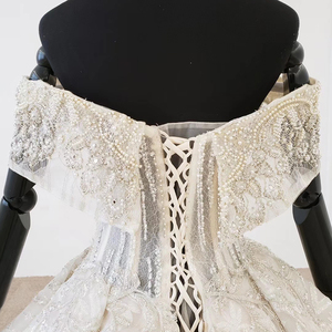 Image 4 - Htl1106 플리츠 볼 가운 웨딩 드레스 럭셔리 보트 넥 바닥 길이 웨딩 드레스 플러스 사이즈 커브 모양 로브 mariage en perle