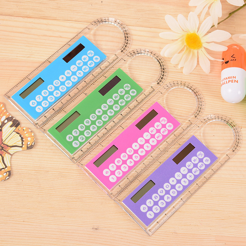 10 Cm Mini Ruler Ultra Thin Solar Calculator With Multifunctional Magnifying Glass Calculator Office Supplies