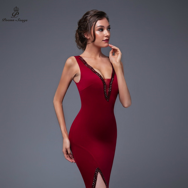 Poems Songs 2019 New Year Doube-V SEXY Evening Prom Slit Side Open Mermaid  Party dress vestido de festa Vintage robe longue 3