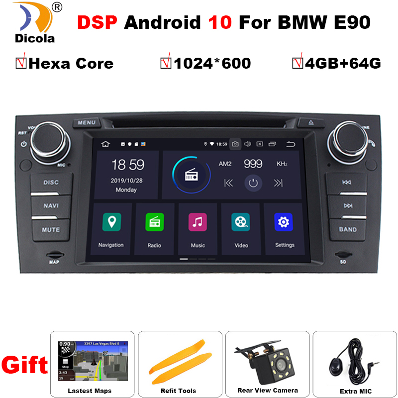 PX6 DSP 7'' <font><b>Android</b></font> 10 In Dash Car Stereo Radio Multimedia Player for <font><b>BMW</b></font> <font><b>E90</b></font> <font><b>E91</b></font> <font><b>E92</b></font> <font><b>E93</b></font> with wifi BT GPS Navigation Head Unit image