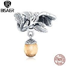 Подвеска в виде счастливой сосны BISAER, серебряная 3D подвеска в виде сосны, подходят для оригинальных браслетов, украшения для рукоделия EFC336