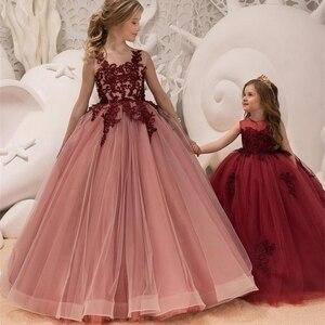 Image 4 - Mädchen Hochzeit Kinder Kleider Für Mädchen Party Kleid Spitze Prinzessin Sommer Teenager Kinder Prinzessin Brautjungfer Kleid 8 10 12 14 jahre