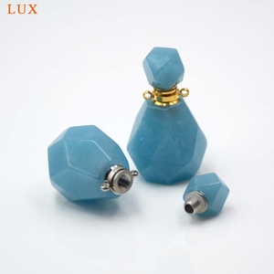 Image 2 - Aquamarines perfume bottle natural Gems stone Pendant Necklace faceted Essential Oil bottle charm December Birthstone girl Gifts
