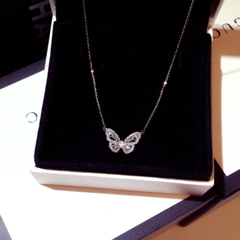 925 sterling silver fashion silver / rose gold butterfly female pendant necklace shiny crystal wedding ball valentine gift(China)