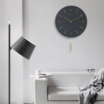 Luxury Pendulum Nordic Wall Clock 3d Black Metal Quiet Clock Living Room Reloj Cocina Modern Design Home Decoration DD55WC