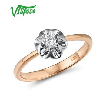 VISTOSO Reine 14K 585 Zwei Ton Gold Funkelnden Diamant Zarte Ring Für Frauen Jahrestag Engagement Mode Trendy Edlen Schmuck