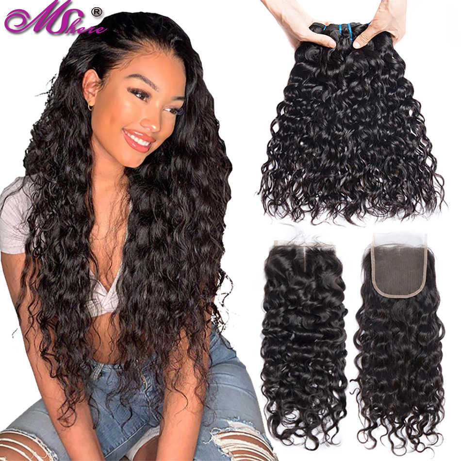 Mshere hair 100% water wave human hair strands with Brazilian closure hair weave 3 strands Natural Color Non-Remy hair extension