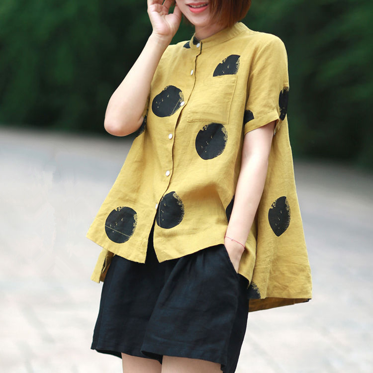 Women Fashion Elegant Casual Look Shirt Female Tops Cute Polka Dot Print Weekend Blouse Summer Single Breasted Shirt and Blouse 13