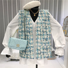 Sleeveless Cardigan V-Neck Single Breasted Womens Vest High Street Plaid Sleeveless Jacket