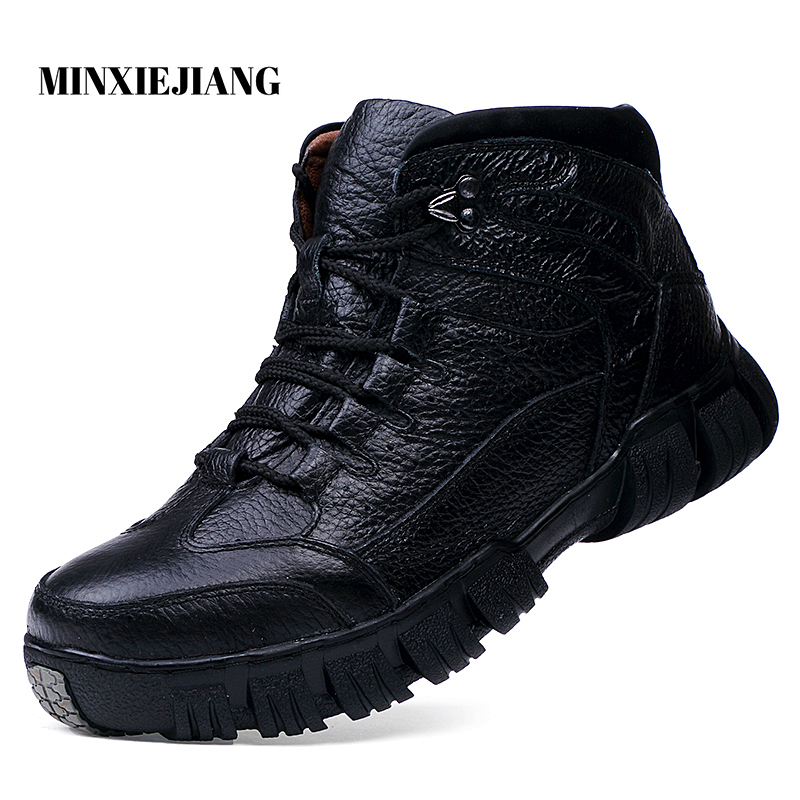 Winter New High Quality Men's Boots Warm Plush Snow Boots Leather Casual Ankle Boots Men's Military Boots Men's Work Boots