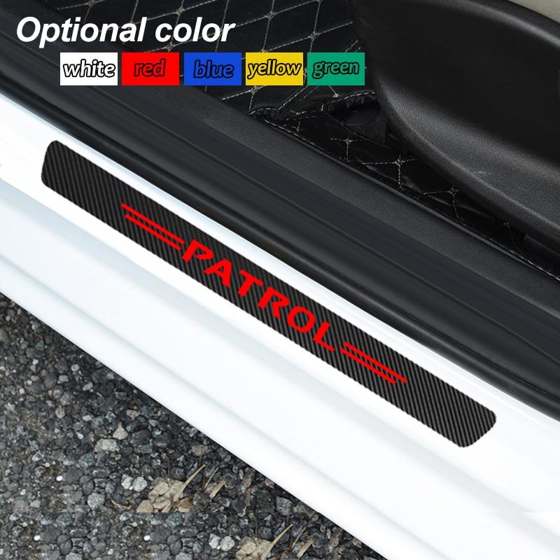 4pcs Decoration Scuff Plate Door Sill Carbon Fibre Sticker Car Accessories For Nissan Patrol Y60 Y61 Y62