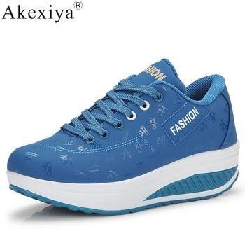 Akexiya-zapatillas gruesas de deporte para mujer, zapatos de talla grande 41 42,...