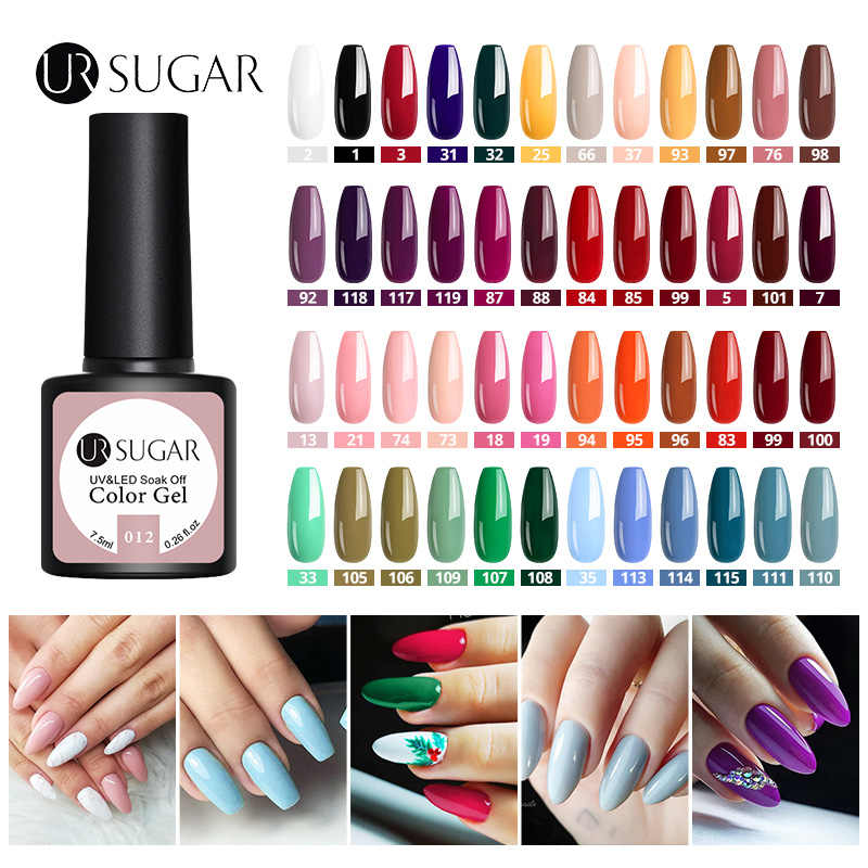 UR Gula Buah/Banyak Warna Gel Nail Polish Set Semi Permanen Warna Kuku UV LED Gel Varnish Glitter Rendam Off uv Gel Varnish