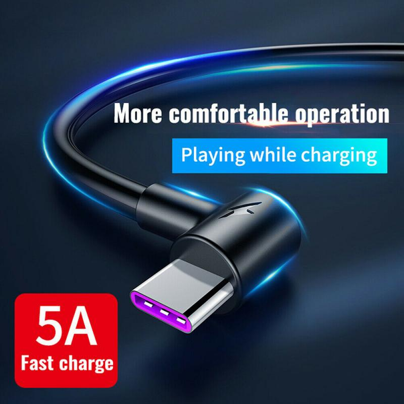 5A USB Type-C Charging Cable For Huawei Samsung Xiaomi Smart Phone Fast Charging Cable Intelligent Phone Elbow Data Line